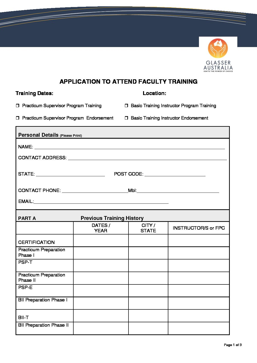 APPLICATION TO ATTEND FACULTY TRAINING 2020