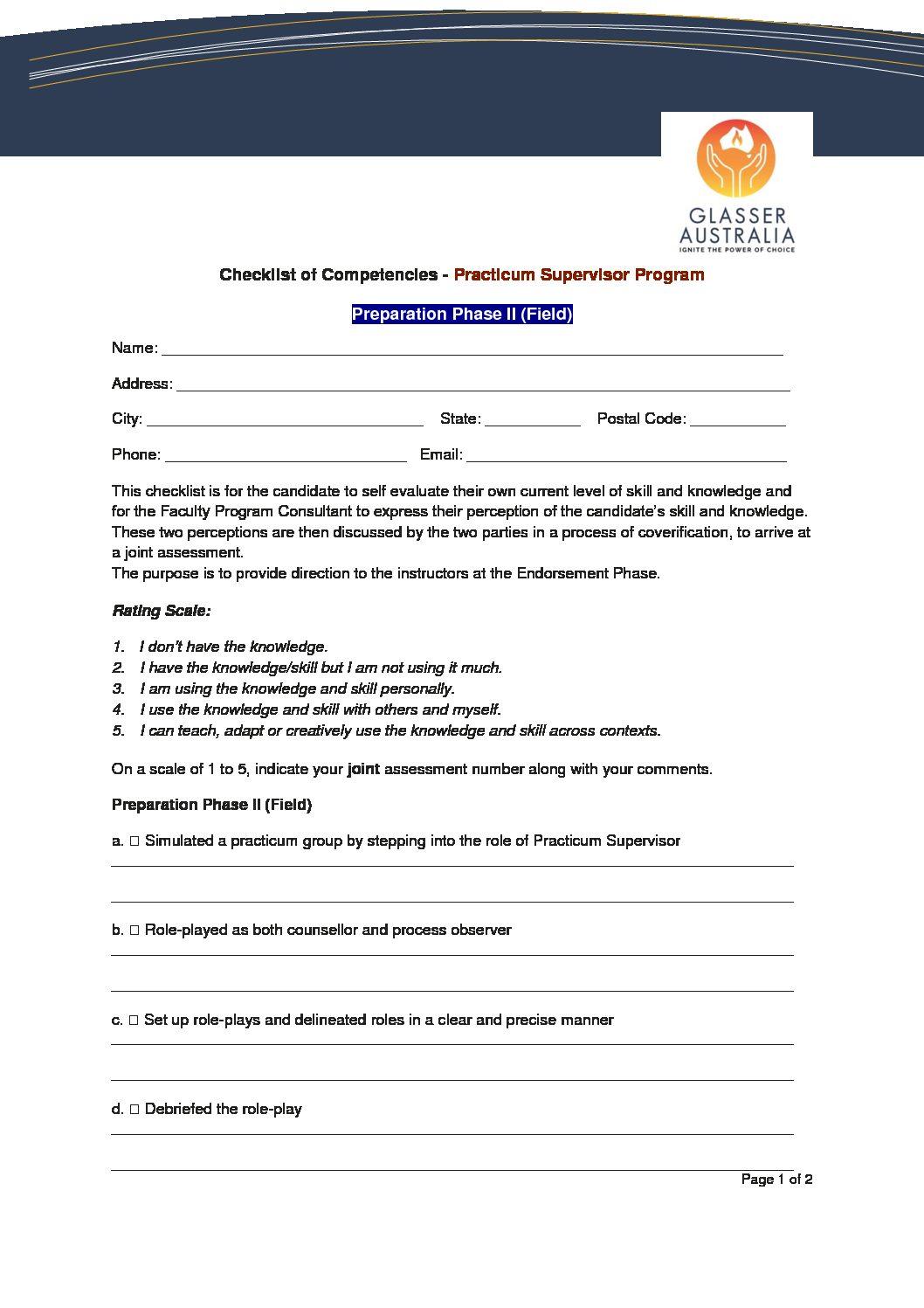 Checklist of Compet Practicum Supervisor Program Phase II (Field)
