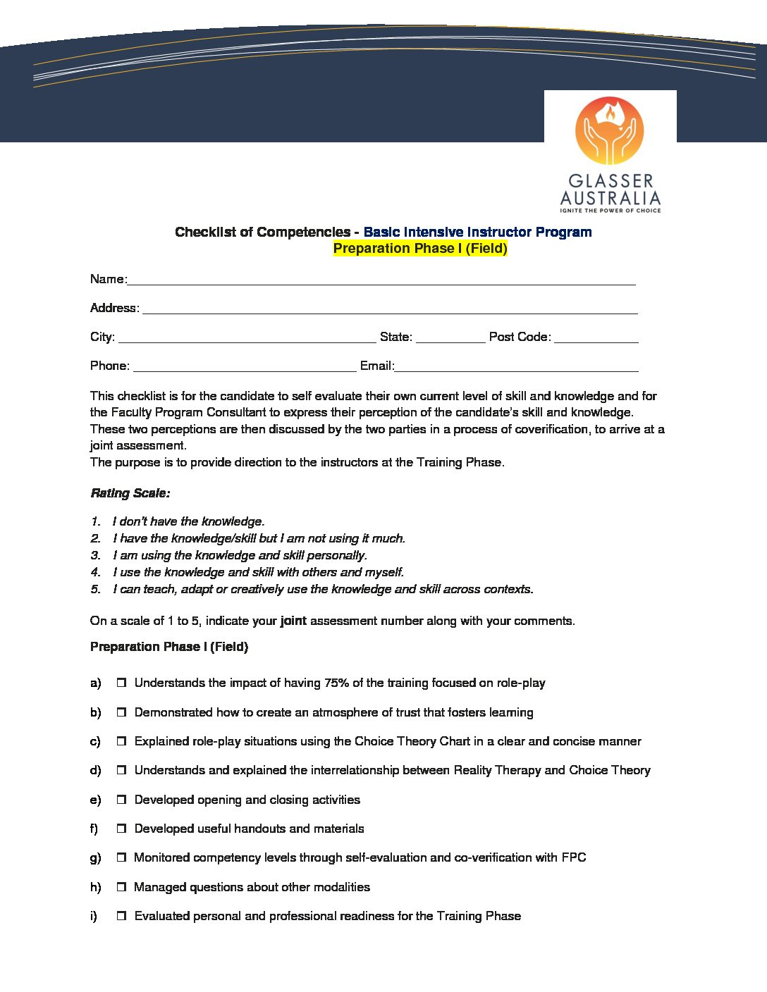 Checklist of Compt Basic Intensive Instructor Program Phase I (Field)