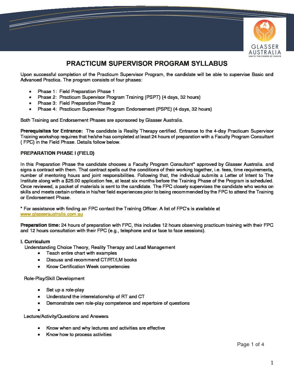 Practicum Supervisor Program Syllabus (Revised 2019)
